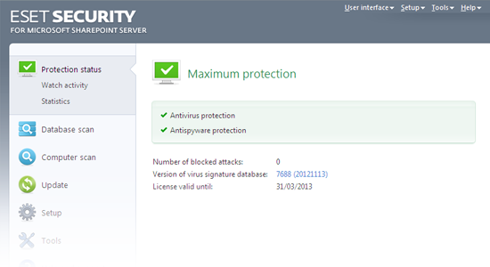 ESET Security for Microsoft SharePoint Release Candidate - Protection status