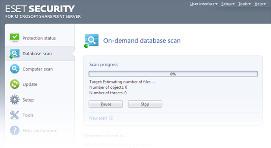 ESET Security for Microsoft SharePoint Release Candidate - Database scan