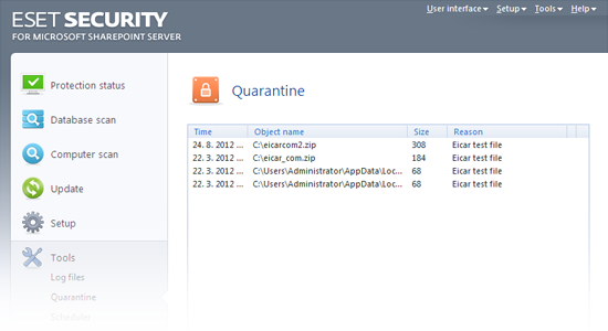 ESET Security für Microsoft SharePoint – Quarantäne