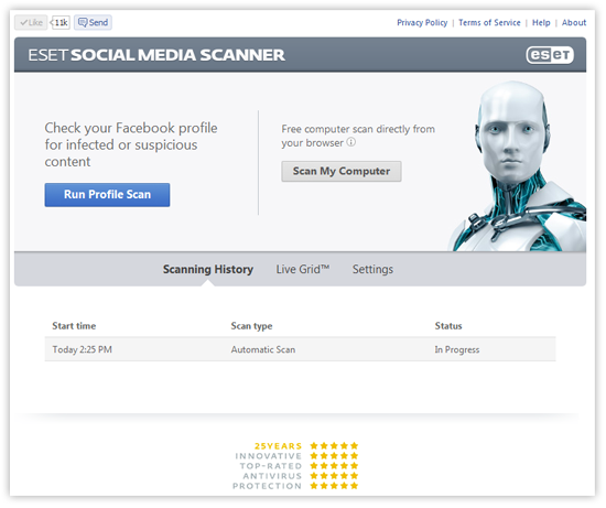 ESET Social Media Scanner - Scanning History screenshot