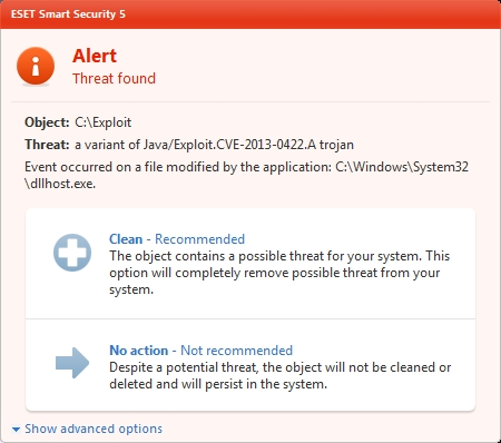 ESET Smart Security 5 - Alert: Threat found